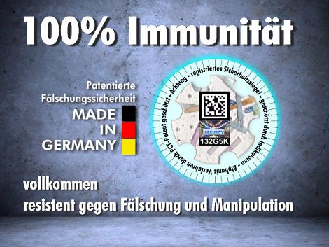 100% Immunität gegen Fälschung und Manipulation